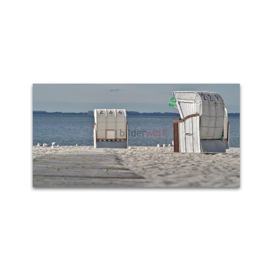 Strandkörbe mit Möwen